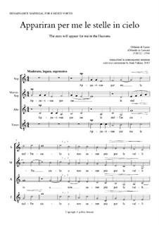 Madrigal 'Appariran per me le stelle in cielo': For SMAT by Orlande de Lassus