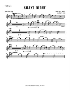 Silent Night (Downloadable): For four flutes – parts by Franz Xaver Gruber