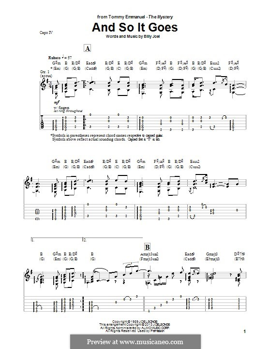 And So It Goes: For guitar with tab (Tommy Emmanuel) by Billy Joel