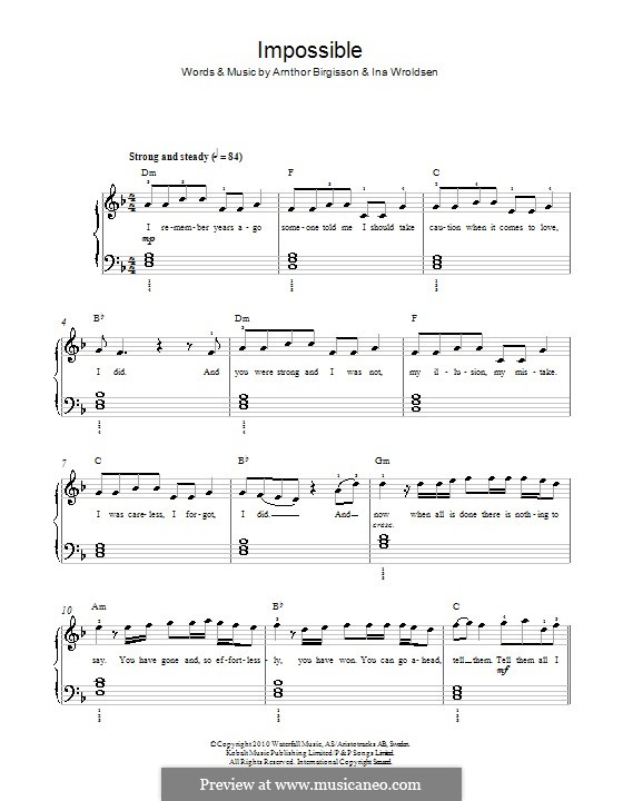 Impossible (Shontelle): Para Piano by Arnthor Birgisson, Ina Wroldsen