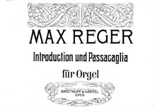 Introduction and Passacaglia: para orgãos by Max Reger
