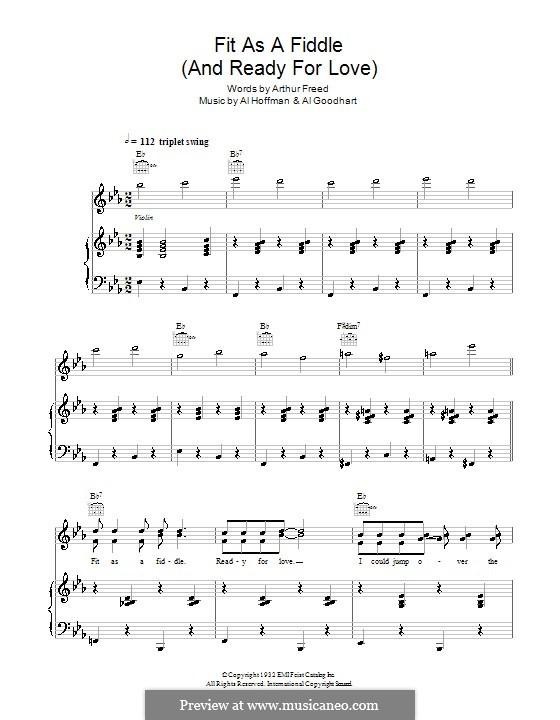 Fit as a Fiddle (from 'Singin' in the Rain'): Para vocais e piano (ou Guitarra) by Al Goodhart, Al Hoffman