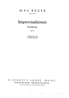 Improvisations for Piano, Op.18: Improvisations No.1-4 by Max Reger