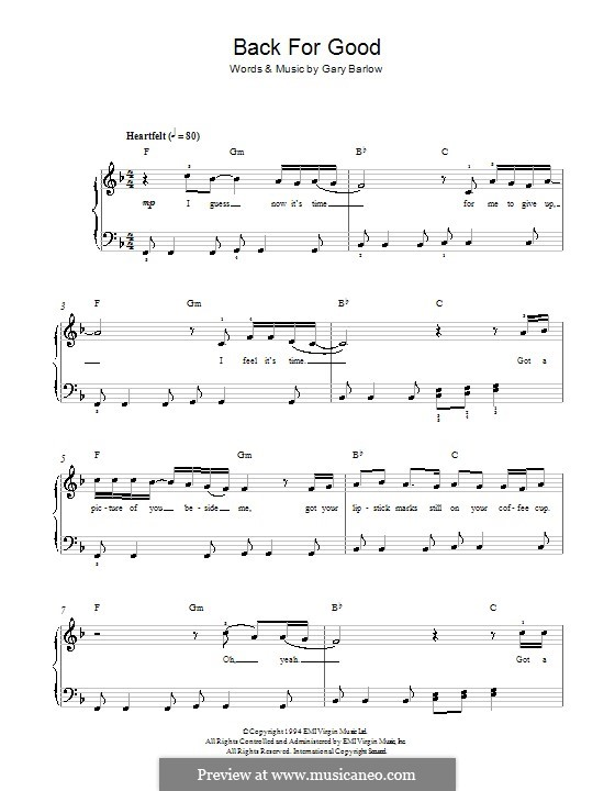 Back for Good (Take That): Para Piano by Gary Barlow