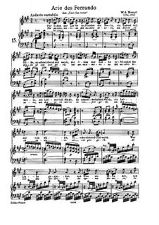 Ferrando's Aria 'Un Aura Amorosa': Para vocais e piano by Wolfgang Amadeus Mozart