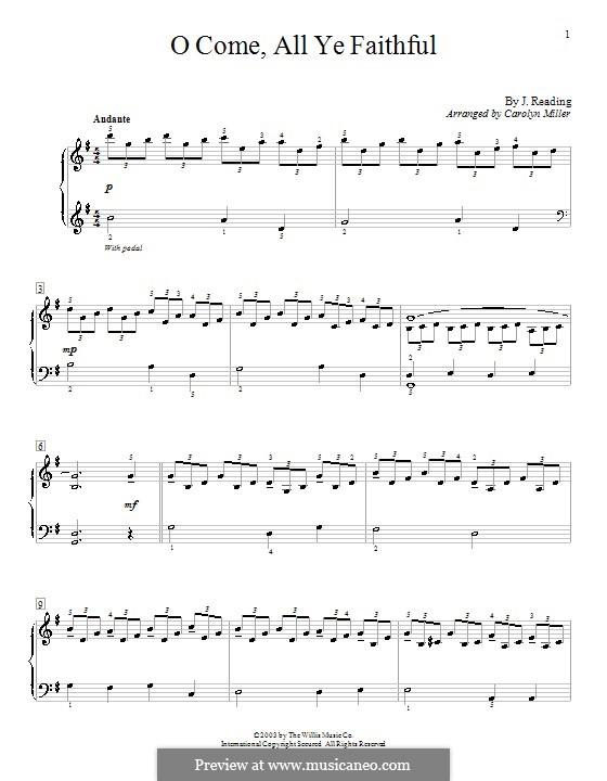 O Come All Ye Faithful, for Piano: versão muito facil by John Francis Wade