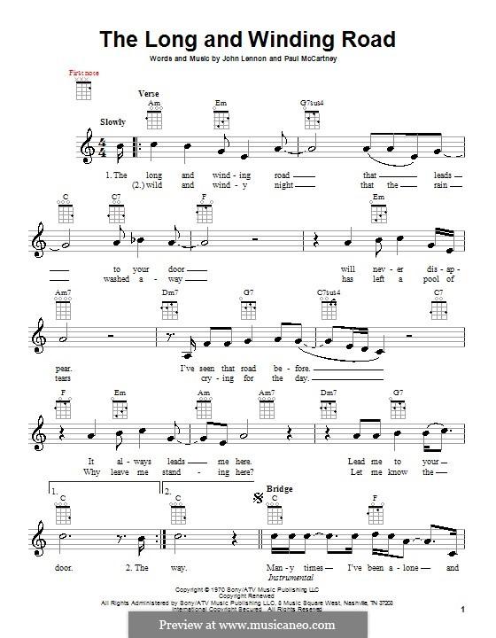 The Long and Winding Road (The Beatles): para ukulele by John Lennon, Paul McCartney