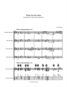 Time for the Sun: For recorder quartet and guitar by Jordan Grigg