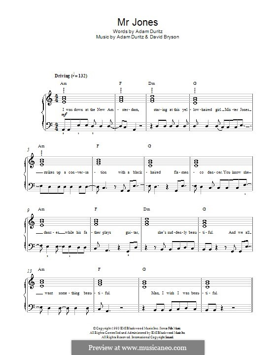 Mr. Jones (Counting Crows): Para Piano by Adam F. Duritz, David Bryson