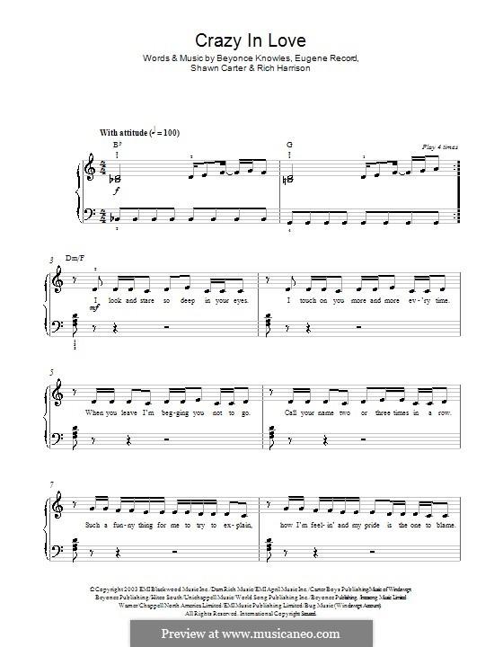 Crazy in Love (Beyonce feat. Jay-Z): Para Piano by Beyoncé, Rich Harrison, Jay-Z