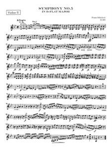 Symphony No.5 in B Flat Major, D.485: violino parte II by Franz Schubert