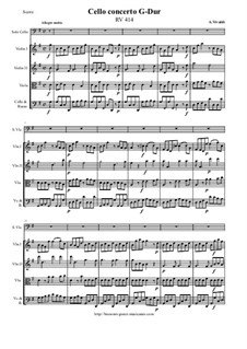 Concerto for Cello and Strings in G Major, RV 414: Score and all parts by Antonio Vivaldi