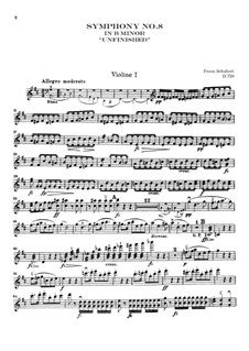 Symphony No.8 in B Minor 'Unfinished', D.759: violino parte I by Franz Schubert
