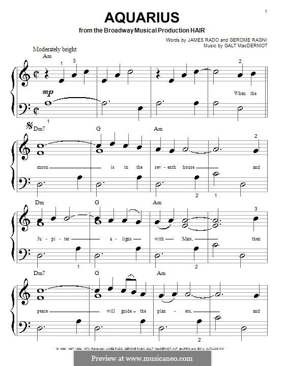 Aquarius (from Hair): Para Piano by Galt MacDermot