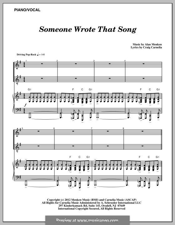 Someone Wrote That Song: Para vocais e piano by Alan Menken