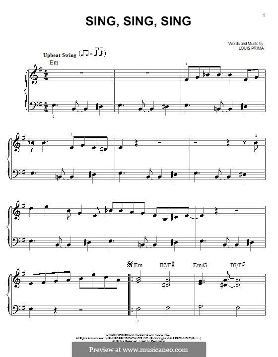 Sing, Sing, Sing (Benny Goodman): Para Piano by Louis Prima