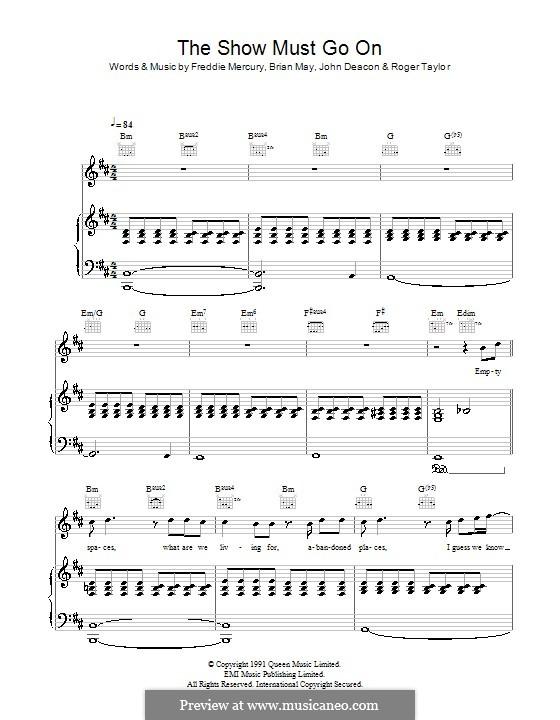 The Show Must Go On (Queen): Para vocais e piano (ou Guitarra) by Brian May, Freddie Mercury, John Deacon, Roger Taylor