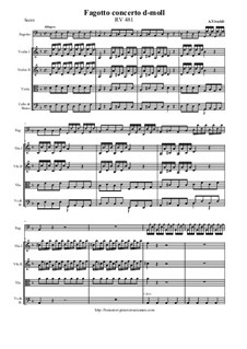 Concerto for Fagotto and Strings in D Minor, RV 481: Score and all parts by Antonio Vivaldi