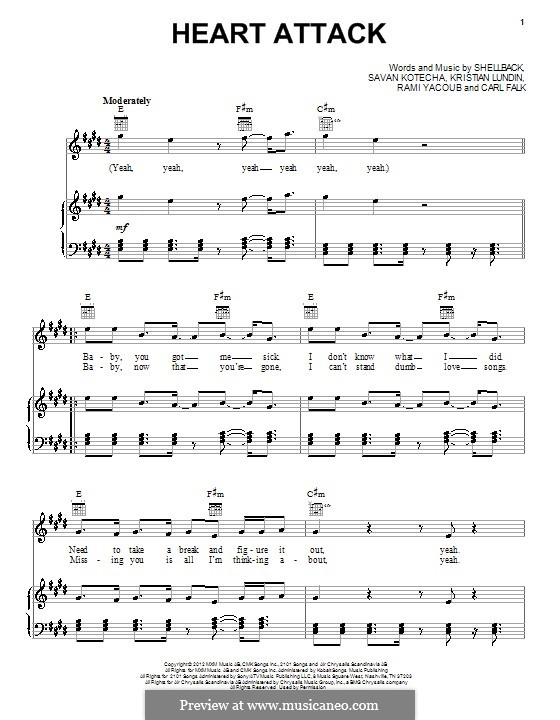 Heart Attack (One Direction): Para vocais e piano (ou Guitarra) by Shellback, Carl Falk, Kristian Lundin, Rami Yacoub, Savan Kotecha