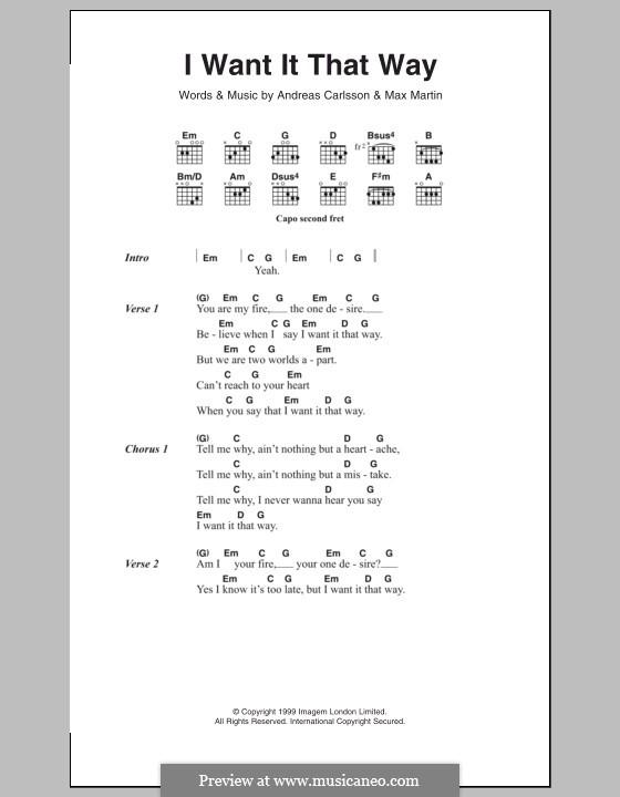 I Want It That Way (Backstreet Boys): Letras e Acordes by Andreas Carlsson, Max Martin