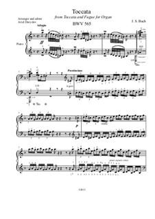 Toccata and Fugue in D Minor, BWV 565: Toccata, for piano by Johann Sebastian Bach