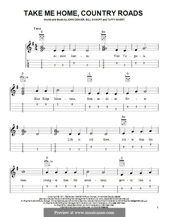 Take Me Home, Country Roads: para ukulele by Bill Danoff, John Denver, Taffy Nivert