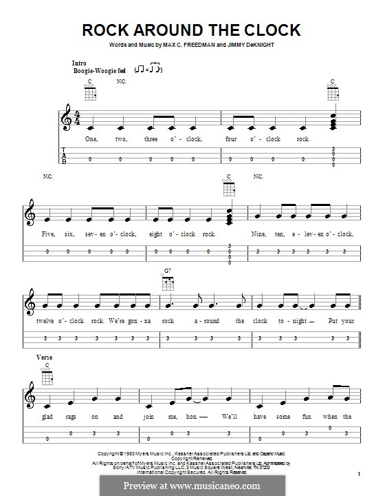 Rock Around the Clock (Bill Haley and His Comets): para ukulele by Jimmy DeKnight, Max C. Freedman