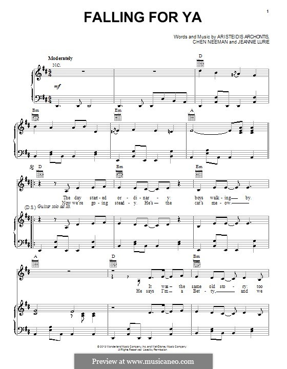 Falling for Ya (from Teen Beach Movie): Para vocais e piano (ou Guitarra) by Aris Archontis, Chen Neeman, Jeannie Lurie