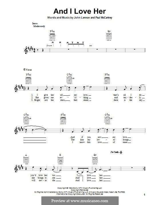 And I Love Her (The Beatles): For electric guitar by John Lennon, Paul McCartney