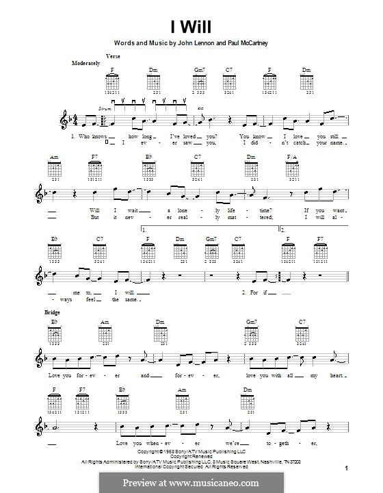 I Will (The Beatles): For electric guitar by John Lennon, Paul McCartney