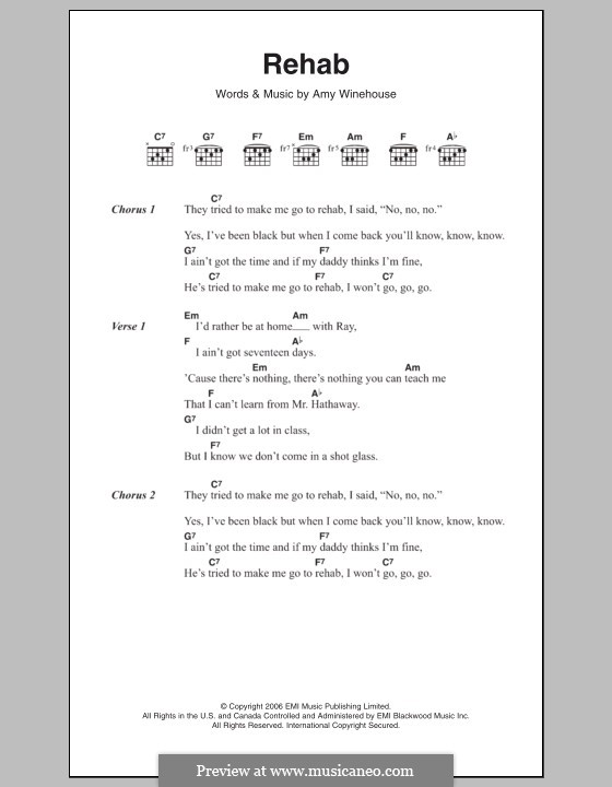 Rehab: Letras e Acordes by Amy Winehouse