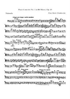 Concerto for Piano and Orchestra No.1 in B Flat Minor, TH 55 Op.23: Parte Violoncelo by Pyotr Tchaikovsky