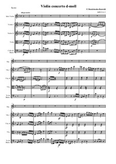 Concerto for Violin and String Orchestra in D Minor, MWV O 3: Score and parts by Felix Mendelssohn-Bartholdy