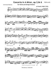 Concerto for Violin and Strings No.6 in A Minor, RV 356: Partitura completa, Partes by Antonio Vivaldi