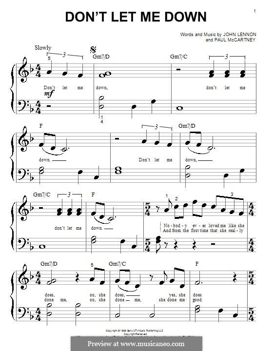 Don't Let Me Down (The Beatles): Para Piano by John Lennon, Paul McCartney