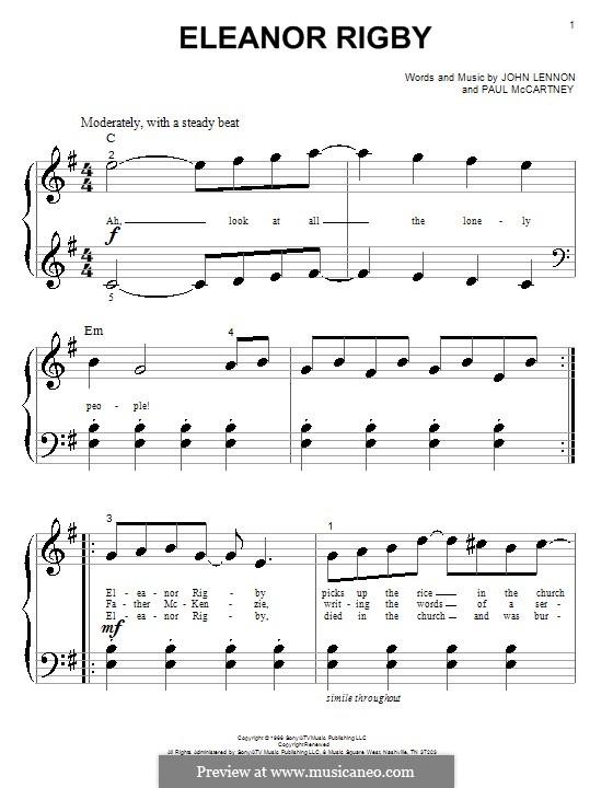 Eleanor Rigby (The Beatles): Para Piano by John Lennon, Paul McCartney