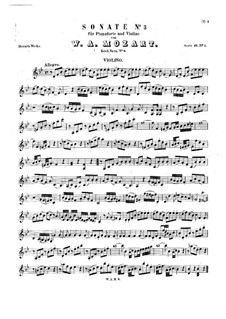 Sonata for Violin and Piano No.3 in B Flat Major, K.8: partitura, parte solo by Wolfgang Amadeus Mozart