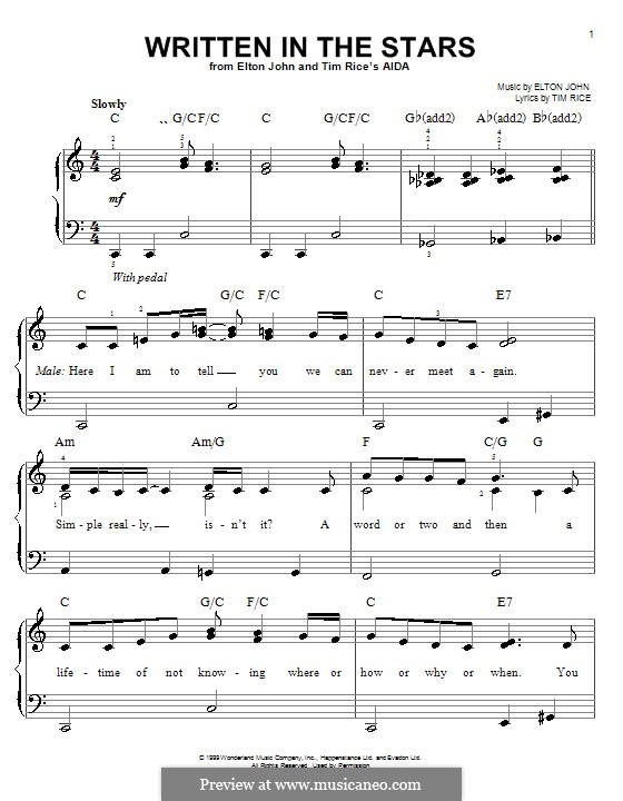 Written in the Stars: Para Piano by Elton John