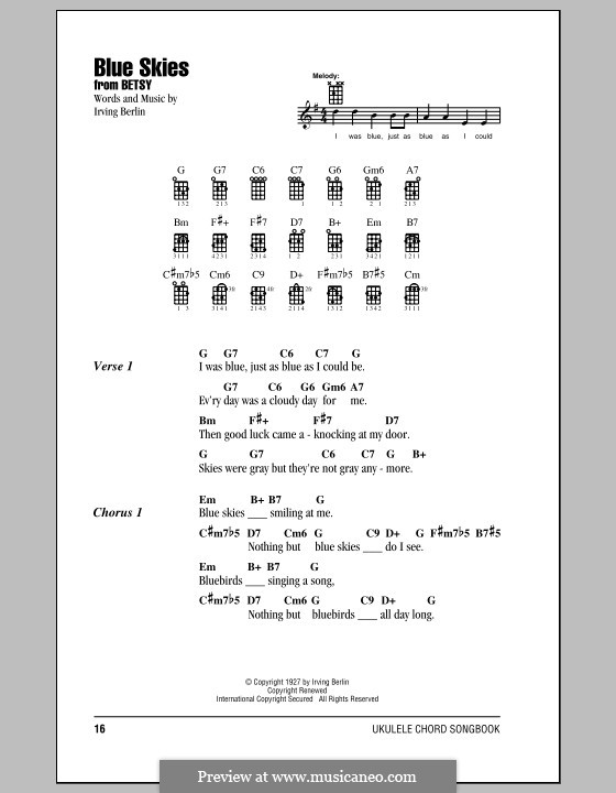 Blue Skies: para ukulele by Irving Berlin