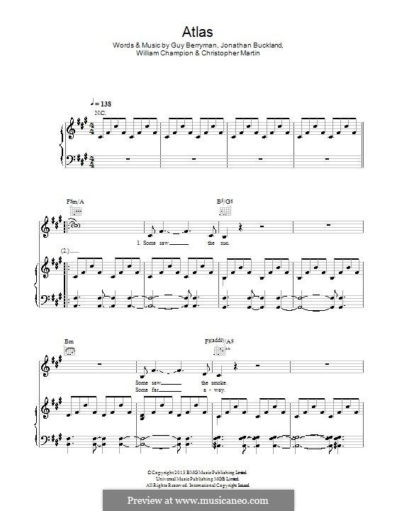 Atlas (Coldplay): Para vocais e piano (ou Guitarra) by Chris Martin, Guy Berryman, Jonny Buckland, Will Champion