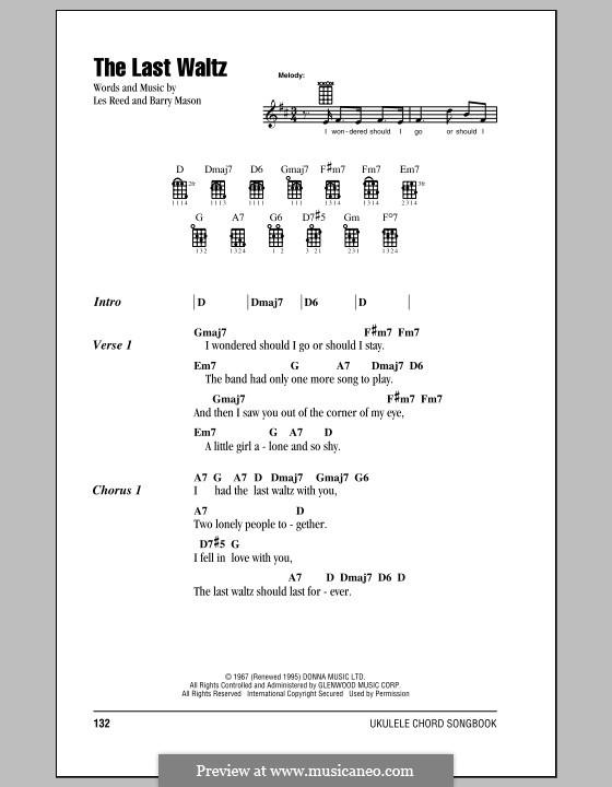 The Last Waltz: para ukulele by Barry Mason, Les Reed