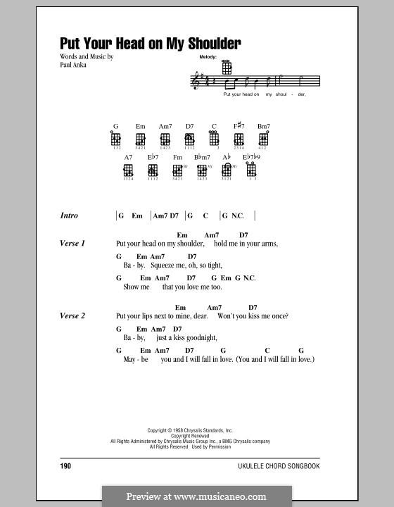 Put Your Head on My Shoulder: para ukulele by Paul Anka