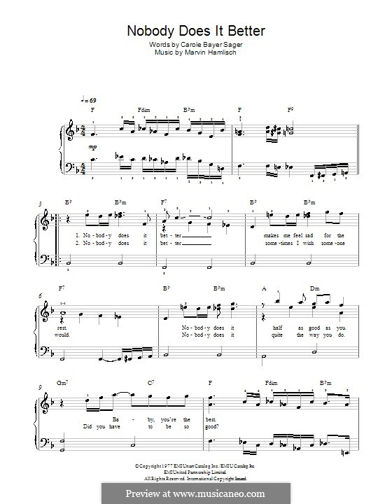 Nobody Does It Better (theme from James Bond: The Spy Who Loved Me): Para Piano by Marvin Hamlisch