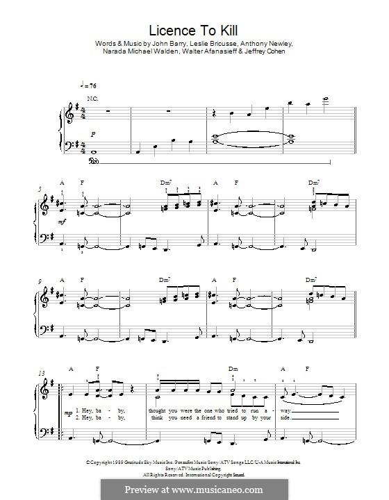 Licence to Kill (Gladys Knight): Para Piano by Anthony Newley, Jeffrey Cohen, John Barry, Leslie Bricusse, Narada Michael Walden, Walter Afanasieff