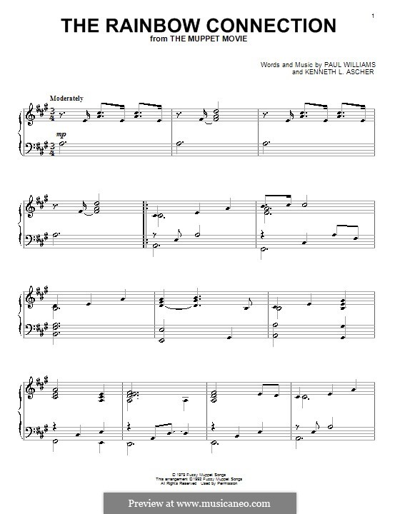 The Rainbow Connection (Kermit the Frog): Para Piano by Paul H. Williams, Kenneth L. Ascher