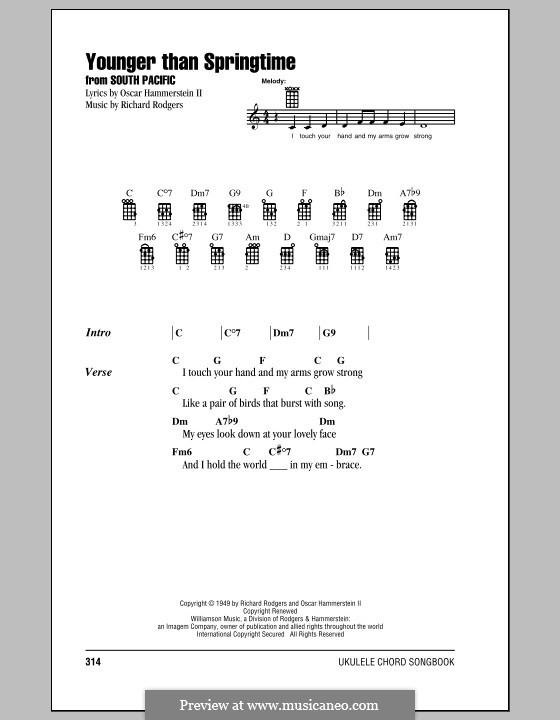 Younger Than Springtime (from South Pacific): para ukulele by Richard Rodgers