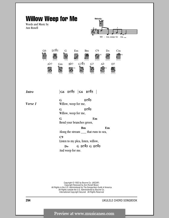 Willow Weep for Me (Chad & Jeremy): para ukulele by Ann Ronell