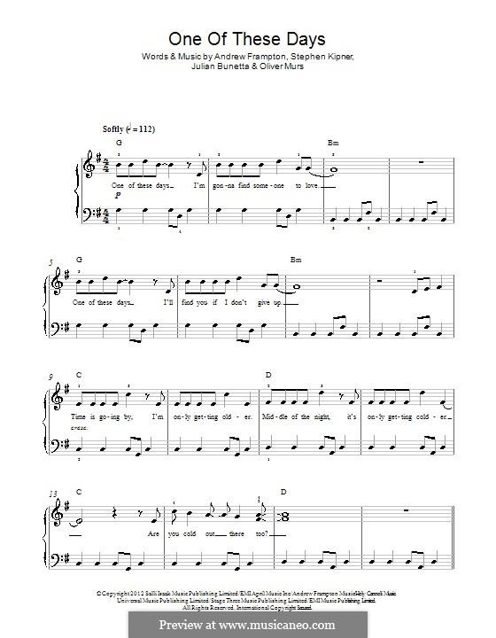 One of These Days: Para Piano by Andrew Frampton, Julian Bunetta, Olly Murs, Stephen Alan Kipner