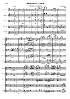 Overture for String Orchestra or Quintet in C Minor, D.8: Score and parts by Franz Schubert