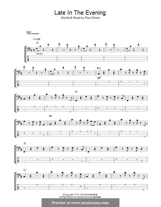 Late in the Evening: para baixo com guia by Paul Simon